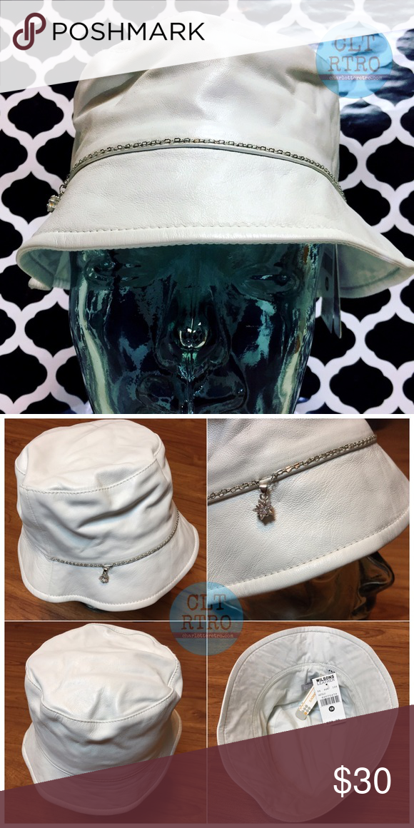 e424338c White Leather Bucket Kangol Hat Wilson's Leather White Bucket Bejeweled Kangol  Hat NWT Womens S/M Wilsons Leather Accessories Hats