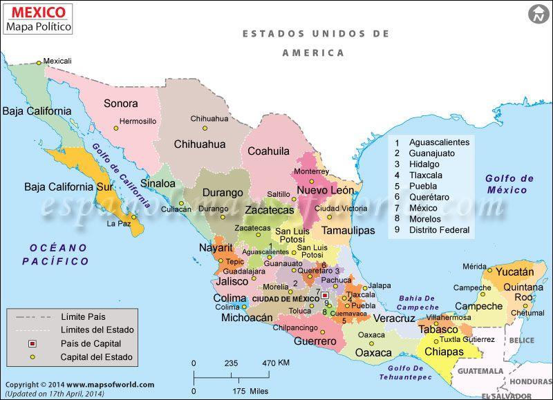 Estados De Mexico Mapa.Estados De Mexico En 2019 Mapa Geografico De Mexico Mapa