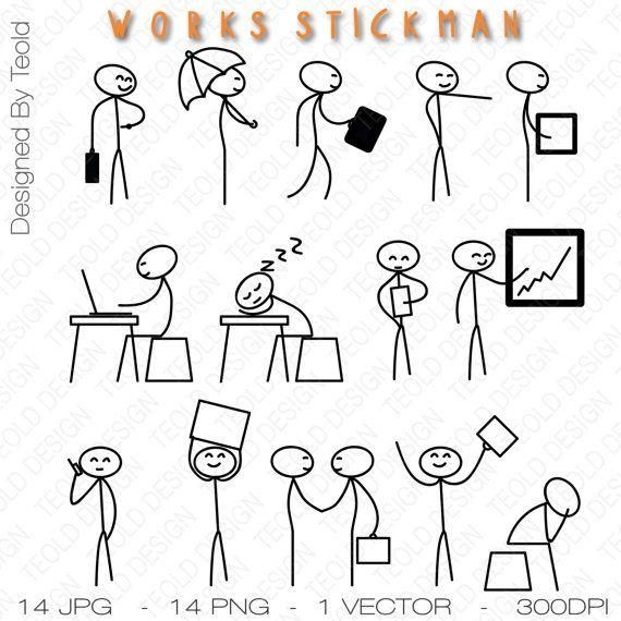 Stick Figure Clipart Clip Art Stick Business Businessman Work Stick People Commercial And Personal Use Eenvoudige Tekeningen Tekenen Applique Patronen