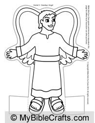 Stand-up angel craft for Fiery Furnace Bible story. (With