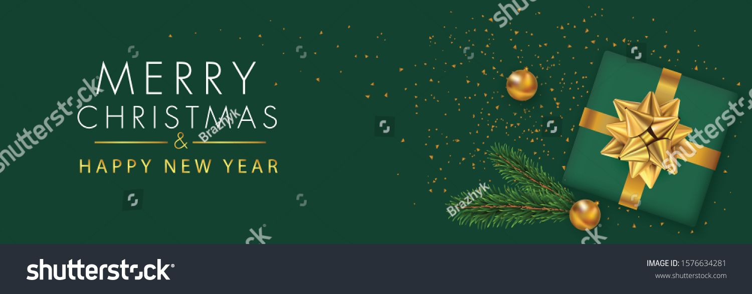 Christmas Banner Xmas Sparkling Lights Garland With Gifts Box And Golden Tinsel Horizontal Christmas Posters Cards Headers Website