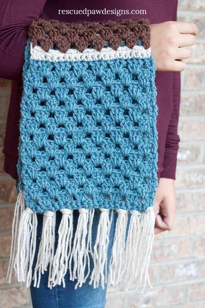 Free Simple Granny Scarf Crochet Pattern | Crochet bufanda, Guantes ...