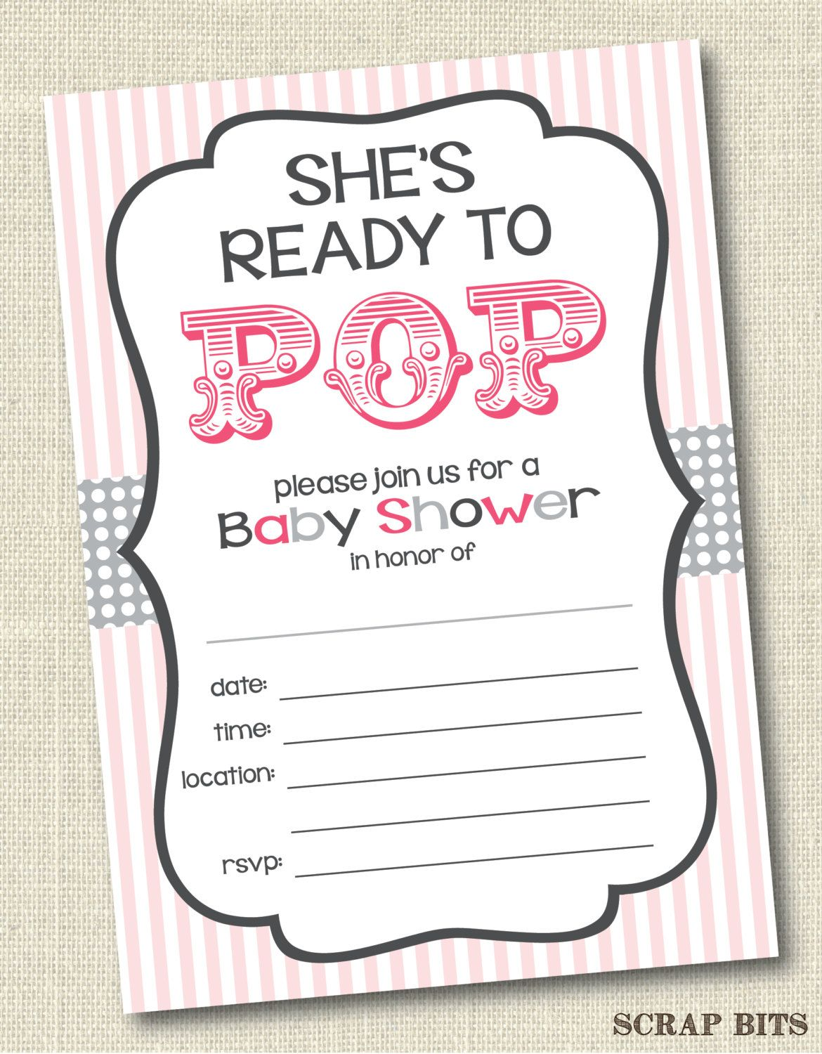 She\'s Ready to Pop Baby Shower Invitations Pink & Grey . Instant ...