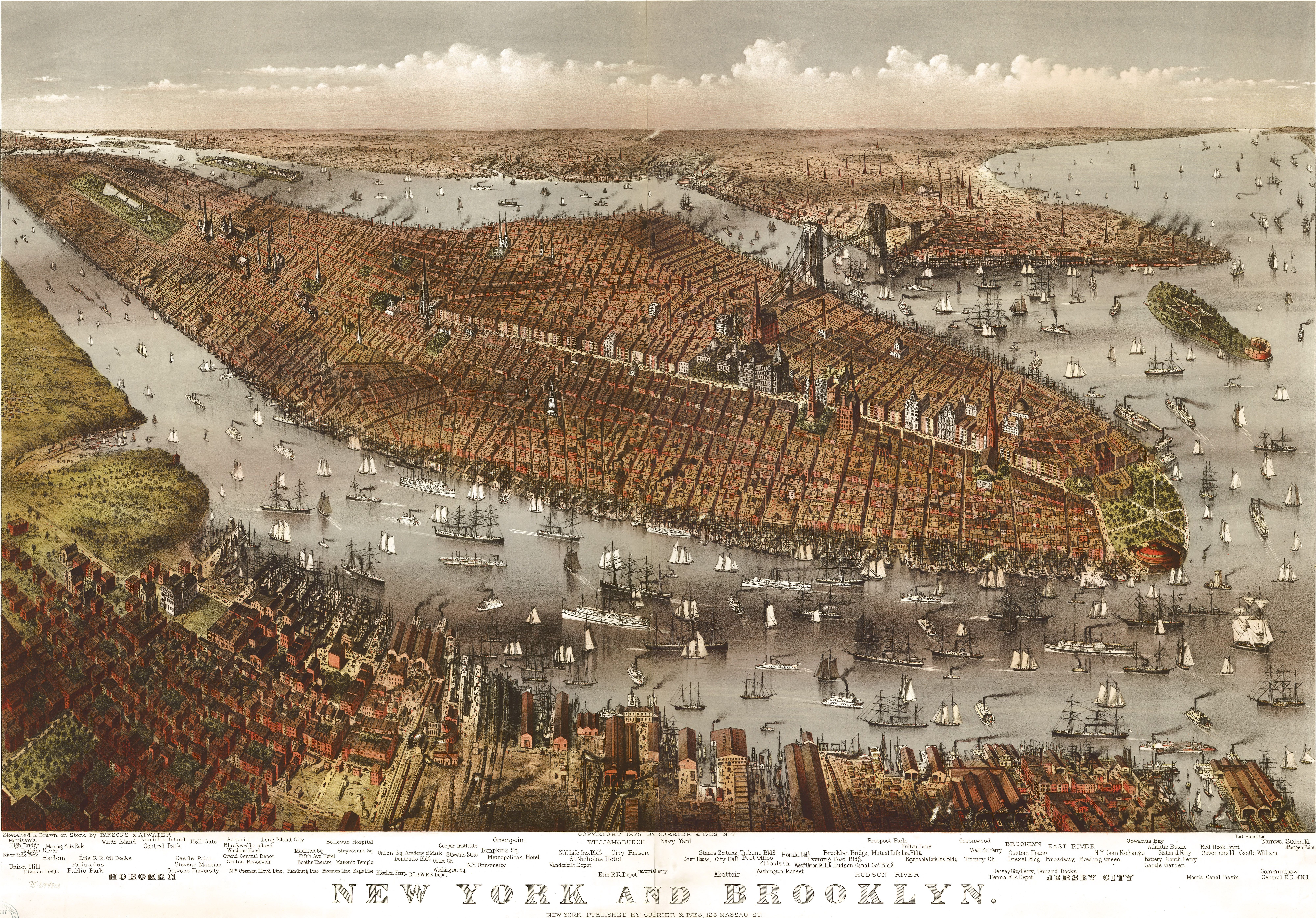 Large bird's eye view of NYC from 1875