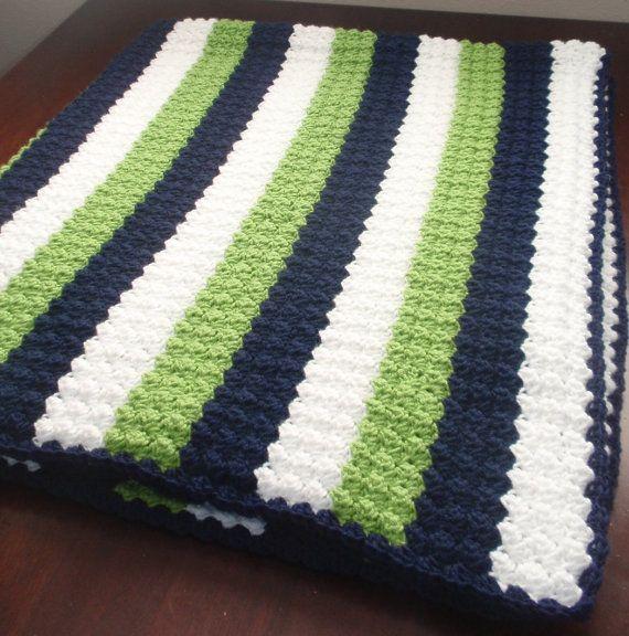 Crochet Seahawks Afgan, Seahawks Blanket, Football Blanket, Crochet ...