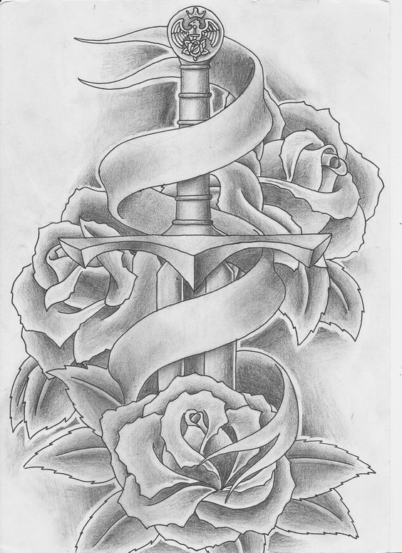 Image Result For Sword And Flowers Tattoo Sword Tattoo Sword And Rose Tattoo Ribbon Tattoos