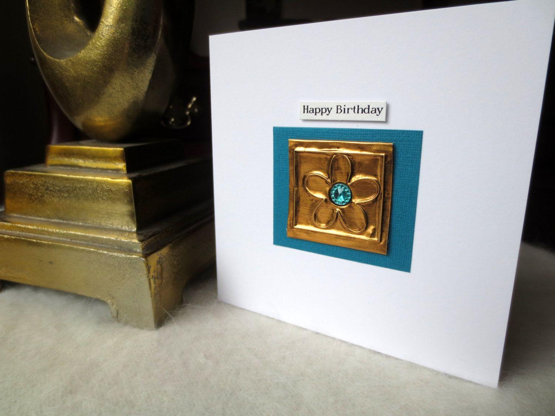 Flower birthday cardembossed foil birthday card for herwifemum