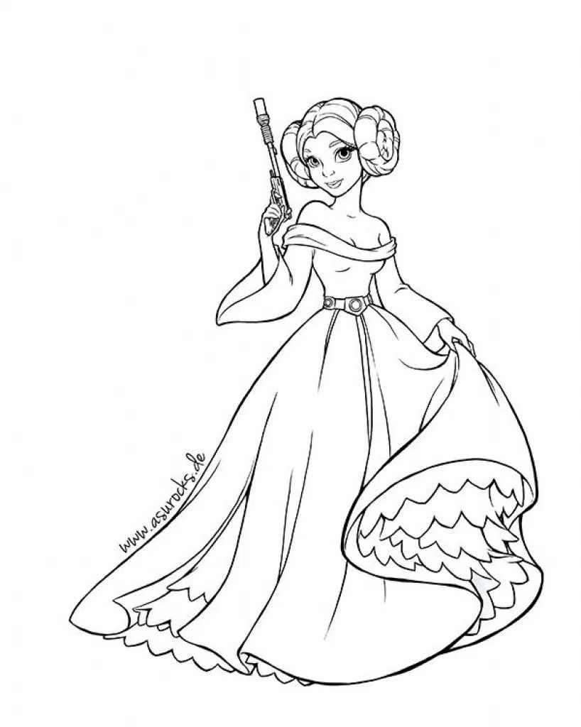 Princess Leia Coloring Pages Star Wars Colors Star Wars Cartoon Princess Coloring Pages
