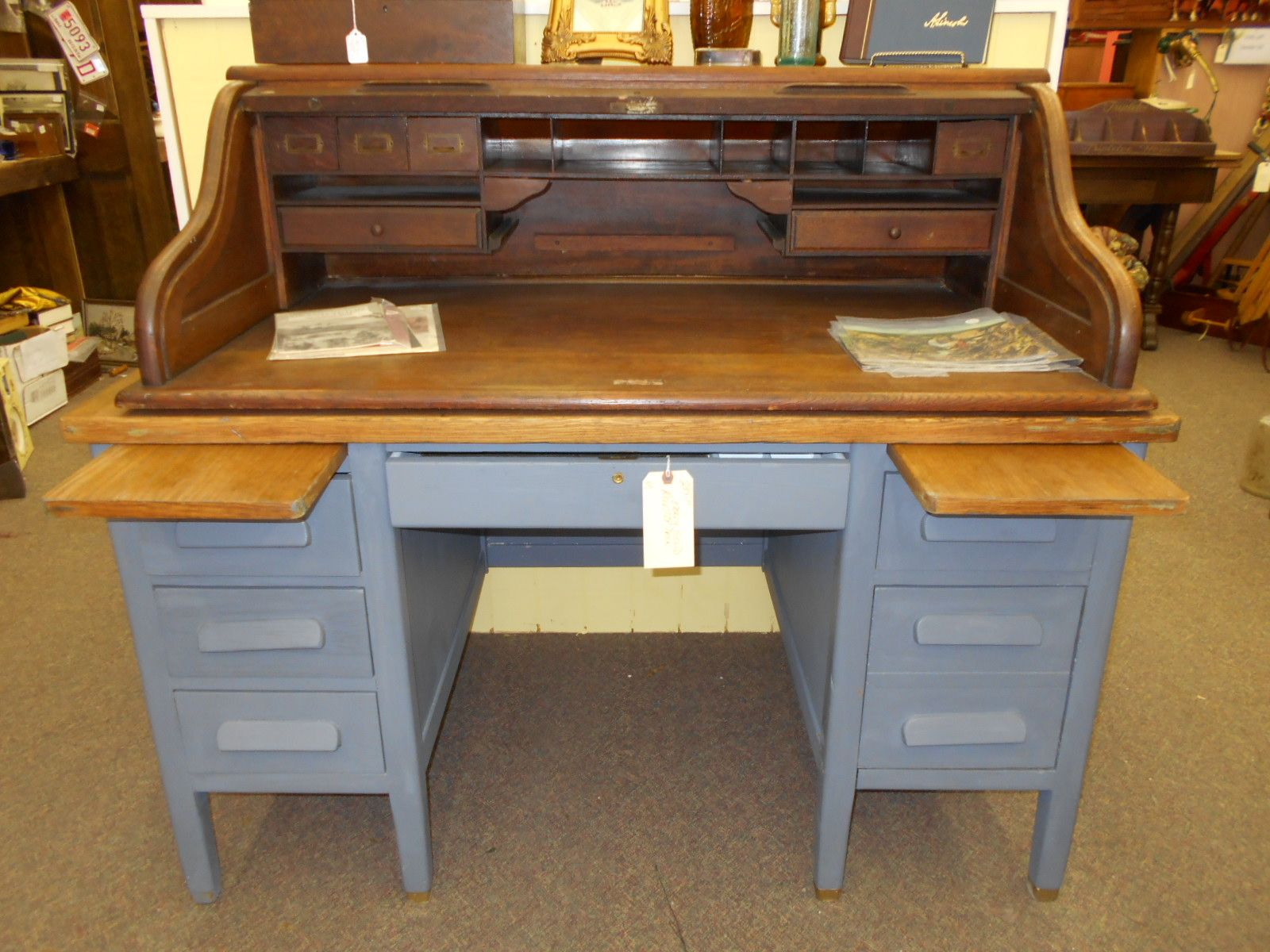 Antique Teacher S Desk Hand Painted In Grey Blue Chalk Paint Roll Top Is Separate