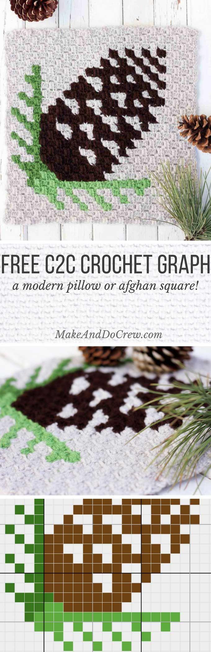 C2C Crochet Pinecone Pattern - Free Graph! | Tejido, Bordado y ...