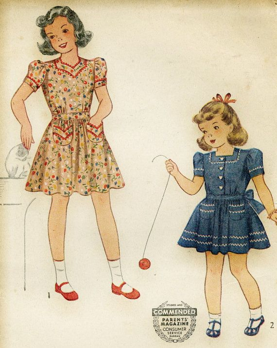 Vintage Simplicity 4103 1940s Childs Mother Daughter Dress Sewing ...