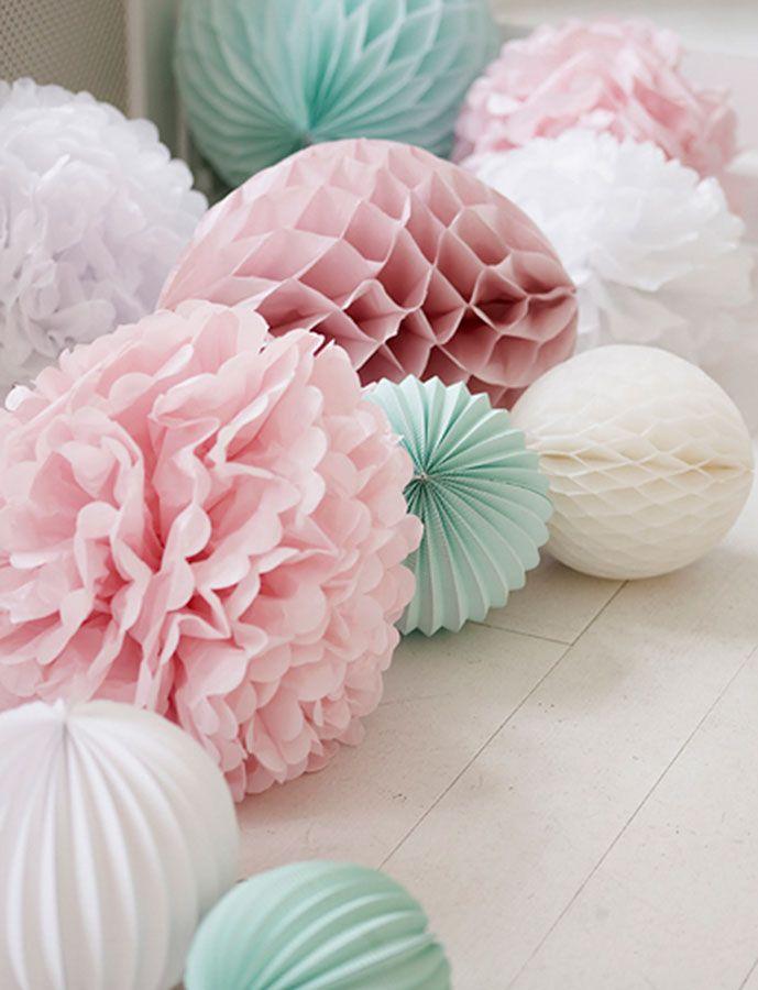 Pom poms Flower MINTGRÖN | Pappersdekorationer, Dekorera