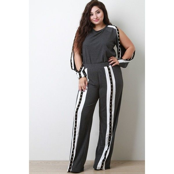 Striped Snap Button Slit Sweatpants ( 70) ❤ liked on Polyvore featuring  activewear 95c95cb0879