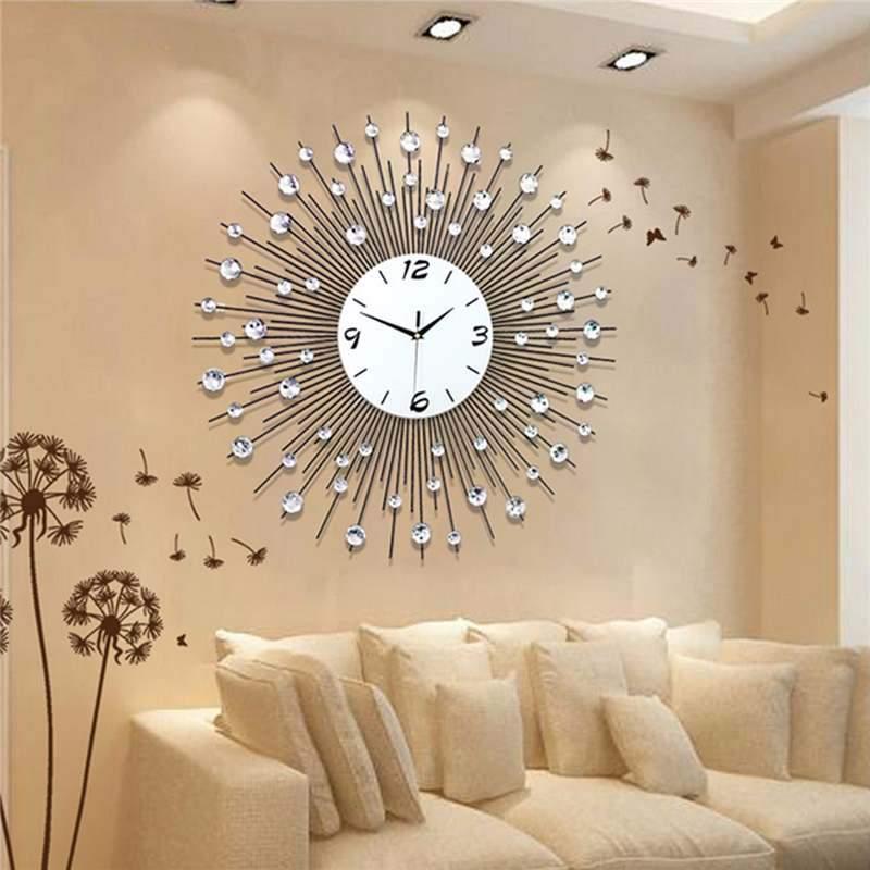 Luxury Diamond 3d Large Wall Clock Clasiv Wall Clocks Living