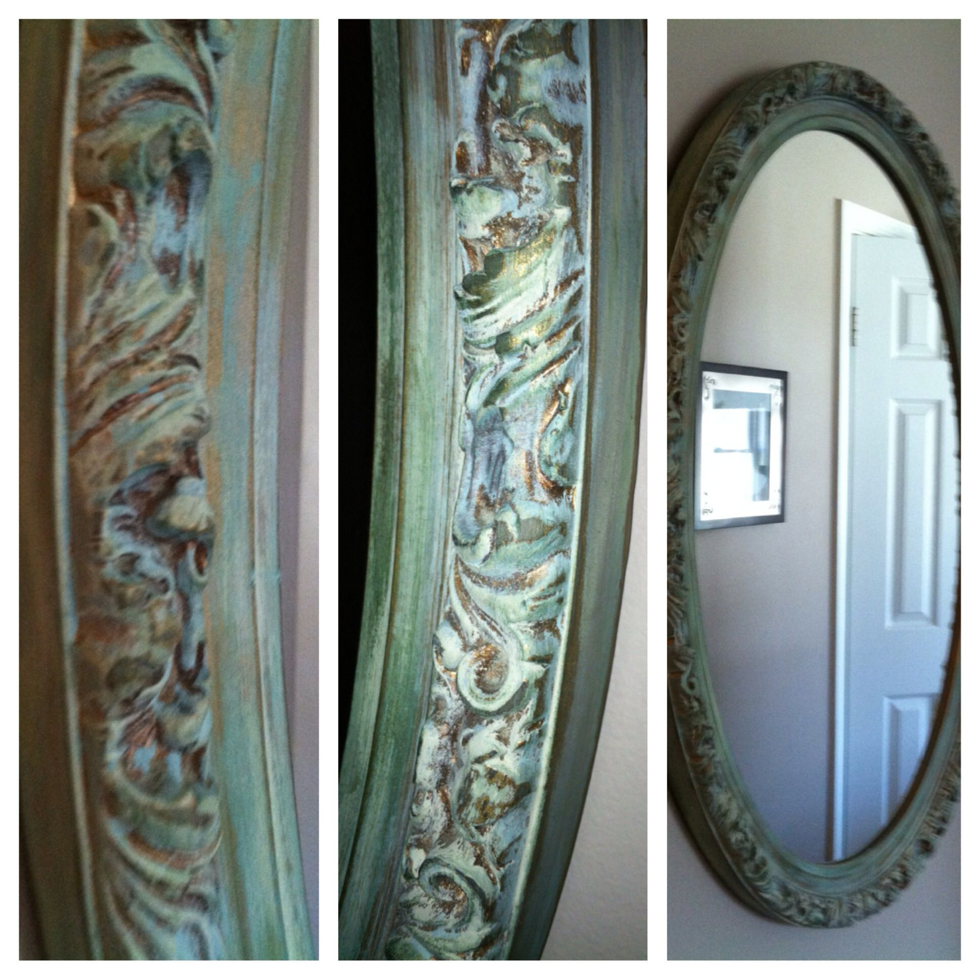 Antique mirror + Annie Sloan Country Grey + AS Duck Egg ...