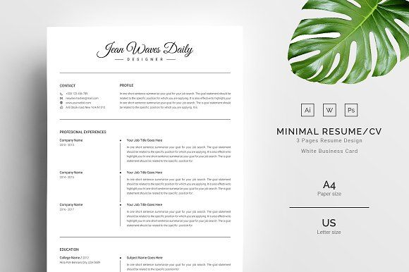 3 Pages Clean Resume/CV by TemplateForest on @creativemarket