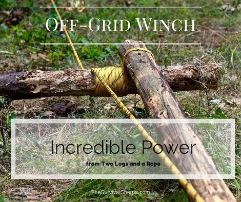 Off Grid Winch   Incredible Power from Two Logs and a Rope   TheSurvivalSherpa com is part of Off the grid, Survival skills, Outdoor survival, Survival prepping, Off grid survival, Survival tips - Off Grid Winch   Incredible Power from Two Logs and a Rope   TheSurvivalSherpa com