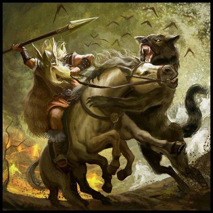 Image of Odin and Fenrir wolf norse mythology