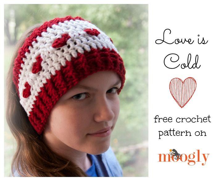 El amor es Ear Warmer Fría - libre patrón #crochet en 2 tamaños en ...