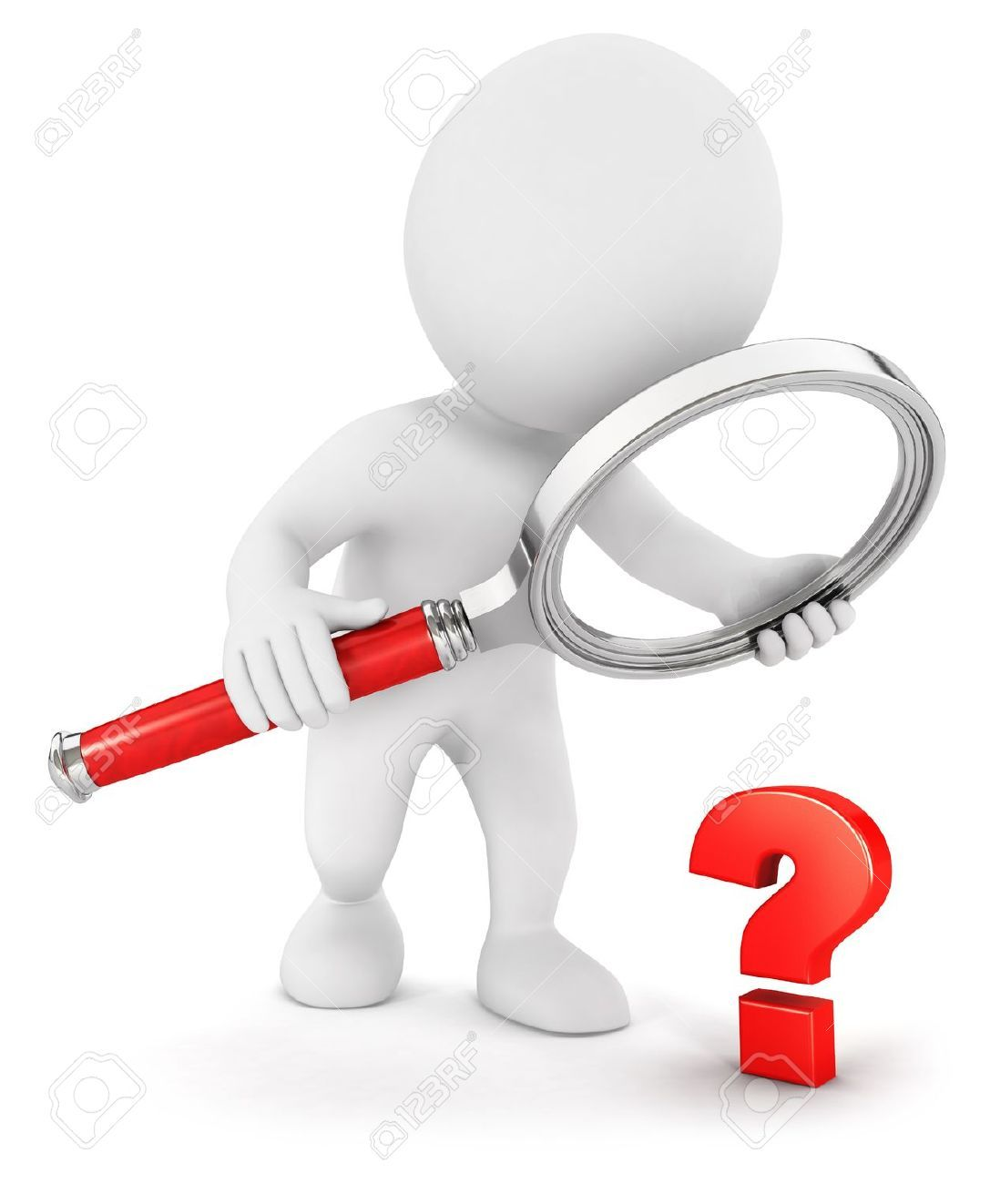 3d person with magnifying glass and question mark stock images image - Royalty Free Question Marks Photos And Stock Photography