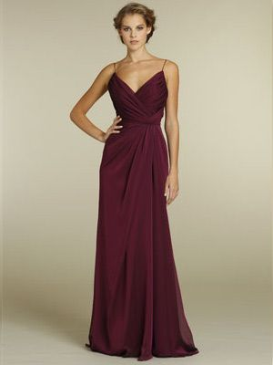 0b57ed4289d5 Merlot Chiffon A-line V-neck Long Bridesmaid Gown with Spaghetti Strap and  Draped Bodice