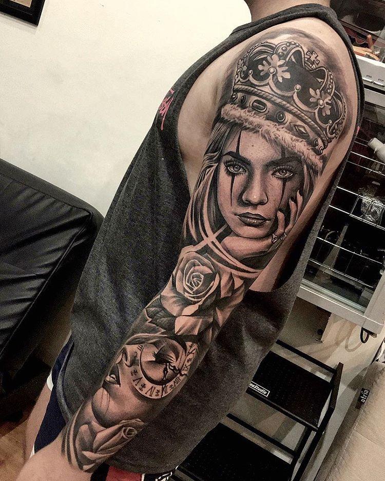 2dc89d859f4d0 Amazing artist Dode Pras @dodepras_tattoo awesome clock queen rose girl  portraits tattoo sleeve! @art_spotlight @inksav @voguemagazine…