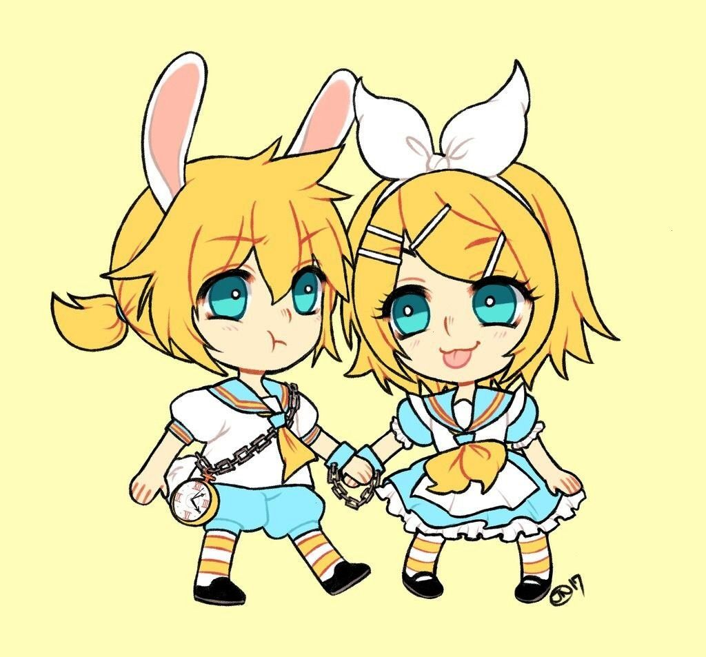 in wonderland x Vocaloid Len and Rin. Where the rabbit cant run away from Alice. I drew thi... -Ali