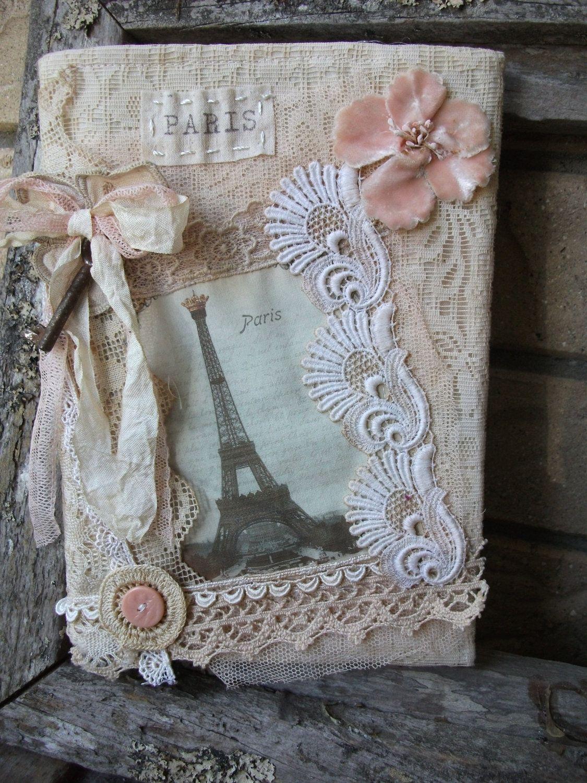 Shabby Parisian Vintage Lace Journal 3 Fabric Book Fabric Journals Handmade Journals