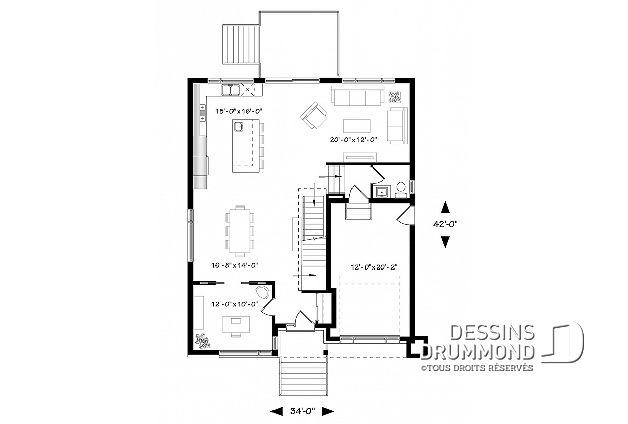 Rez-de-chaussée du plan de maison unifamiliale W3884 plan Pinterest