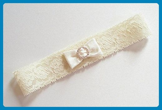 Ivory Garter in Narrow Stretch Lace with Mini Dupioni Silk Bow Gathered by a Tiny Circle of Rhinestones - The Petite EMMA Garter - Bridal garters (*Amazon Partner-Link)