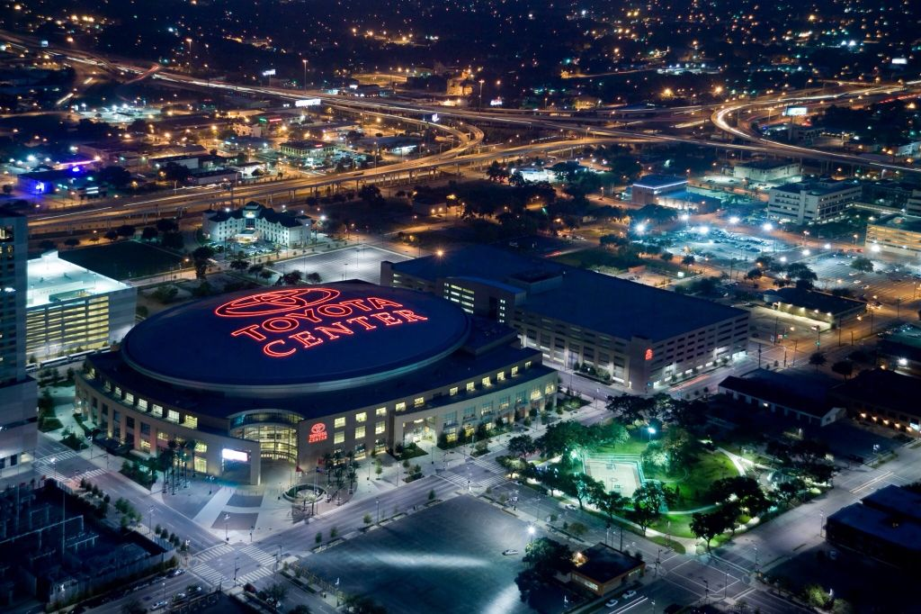 The Toyota Center and surrounding area.