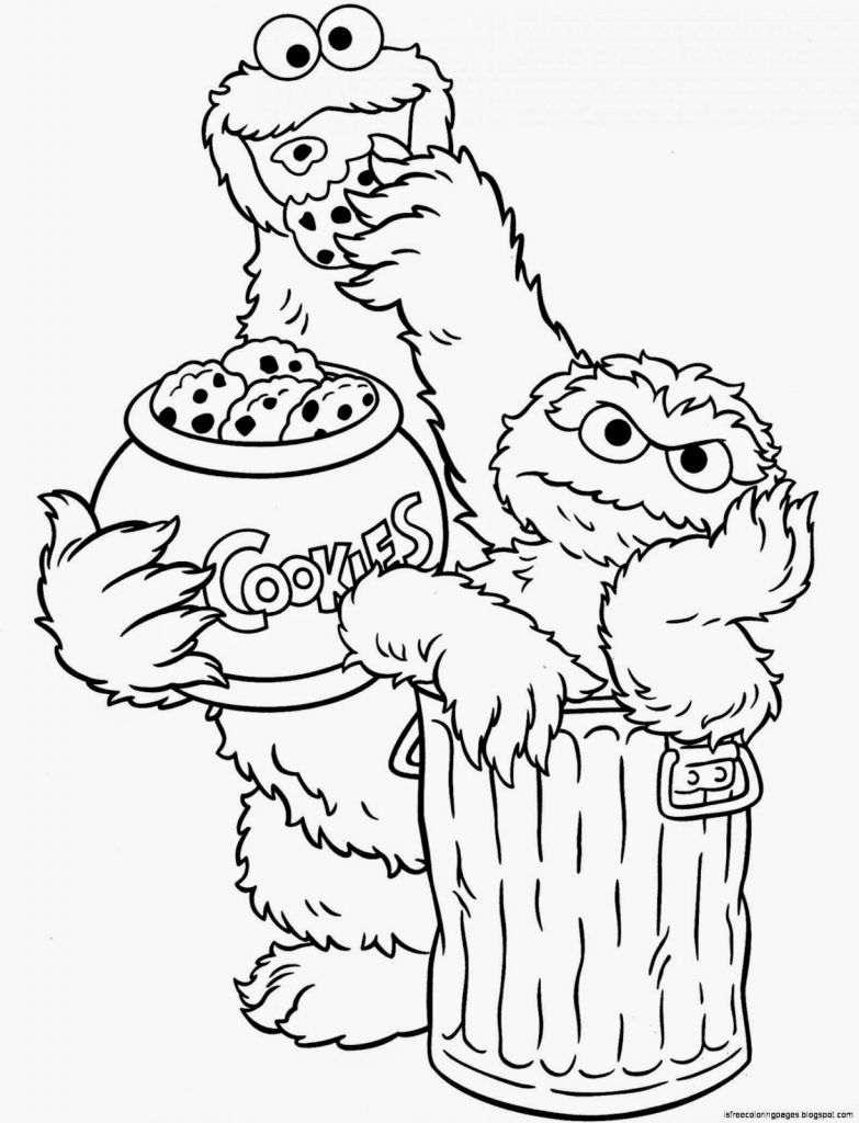 Cookie Monster Grover Telly Sesame Street Coloring Pages