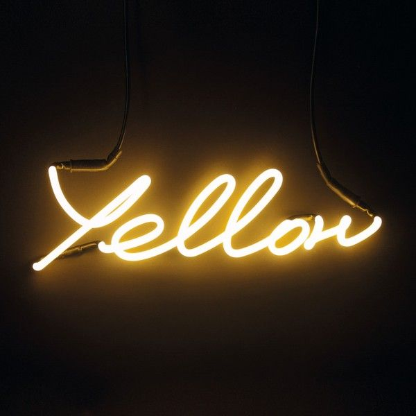 Neon Colour Word Lamp Yellow $190 ❤ liked on Polyvore featuring