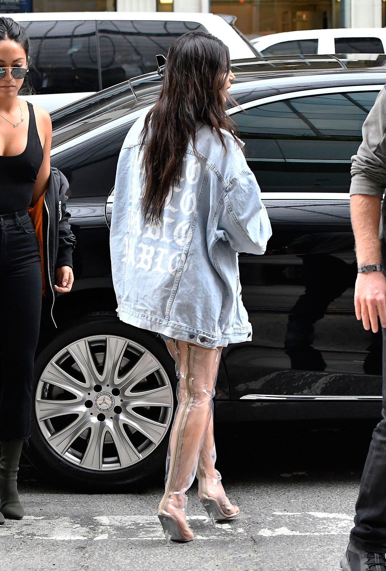 Kim Kardashian Reinvents the Rain Boot with Clear Thigh High Heels in N Y C