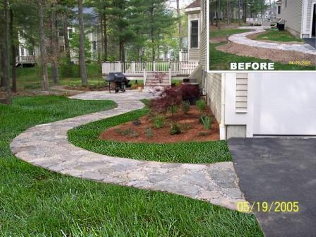 natural stone patio walkway softscape plant installation