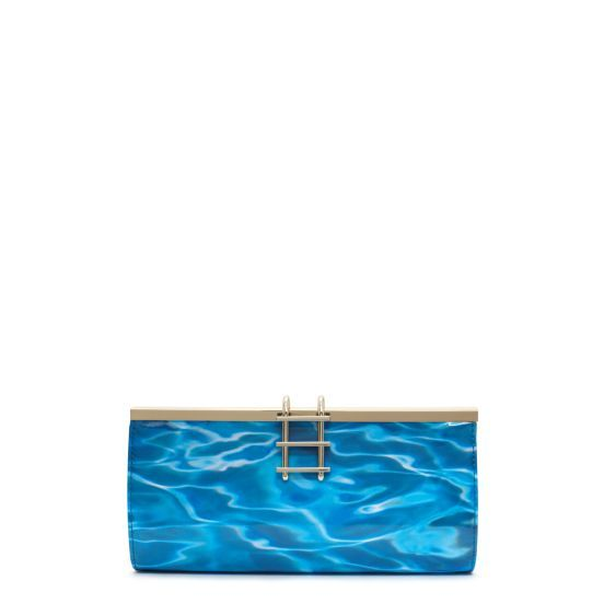 This is whimsical in the BEST possible way. A POOL clutch with LADDER hardware? OMG. $278