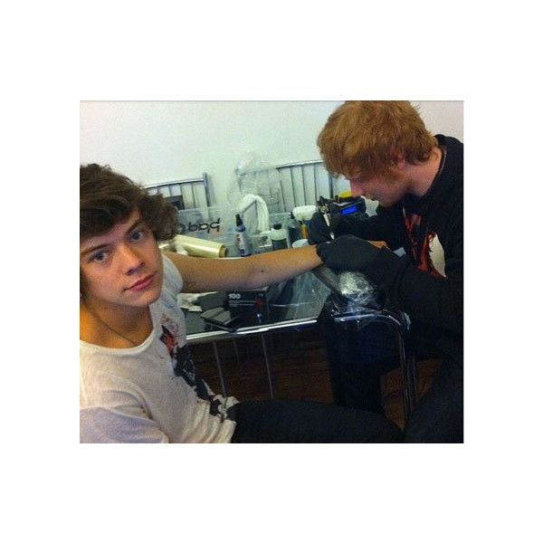 Ed Sheeran tattoos Harry Styles. EH? ❤ liked on Polyvore