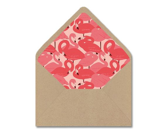 Printable Envelope Liner Template  Coral Pink Flamingo Diy