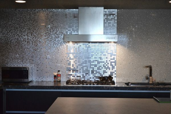 Mirror Tiles Self Adhesive Backsplash Contemporary Kitchen Ideas