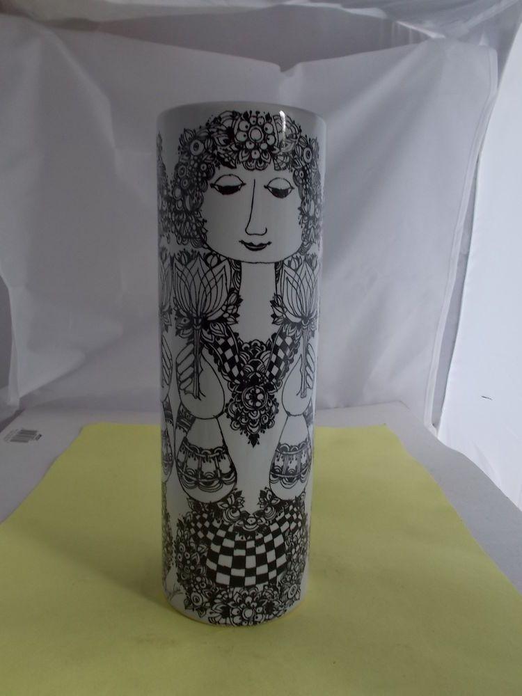 hohe vase 27 cm rosenthal bj rn wiinblad schwarz weiss signiert in antiquit ten