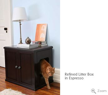 Refined Cat Litter Box This Beautiful Wood Cat Litter Box Is Both Sturdy  And Functional. It Includes Hinged Doors, Sliding Tray For Litter Removal,  ...