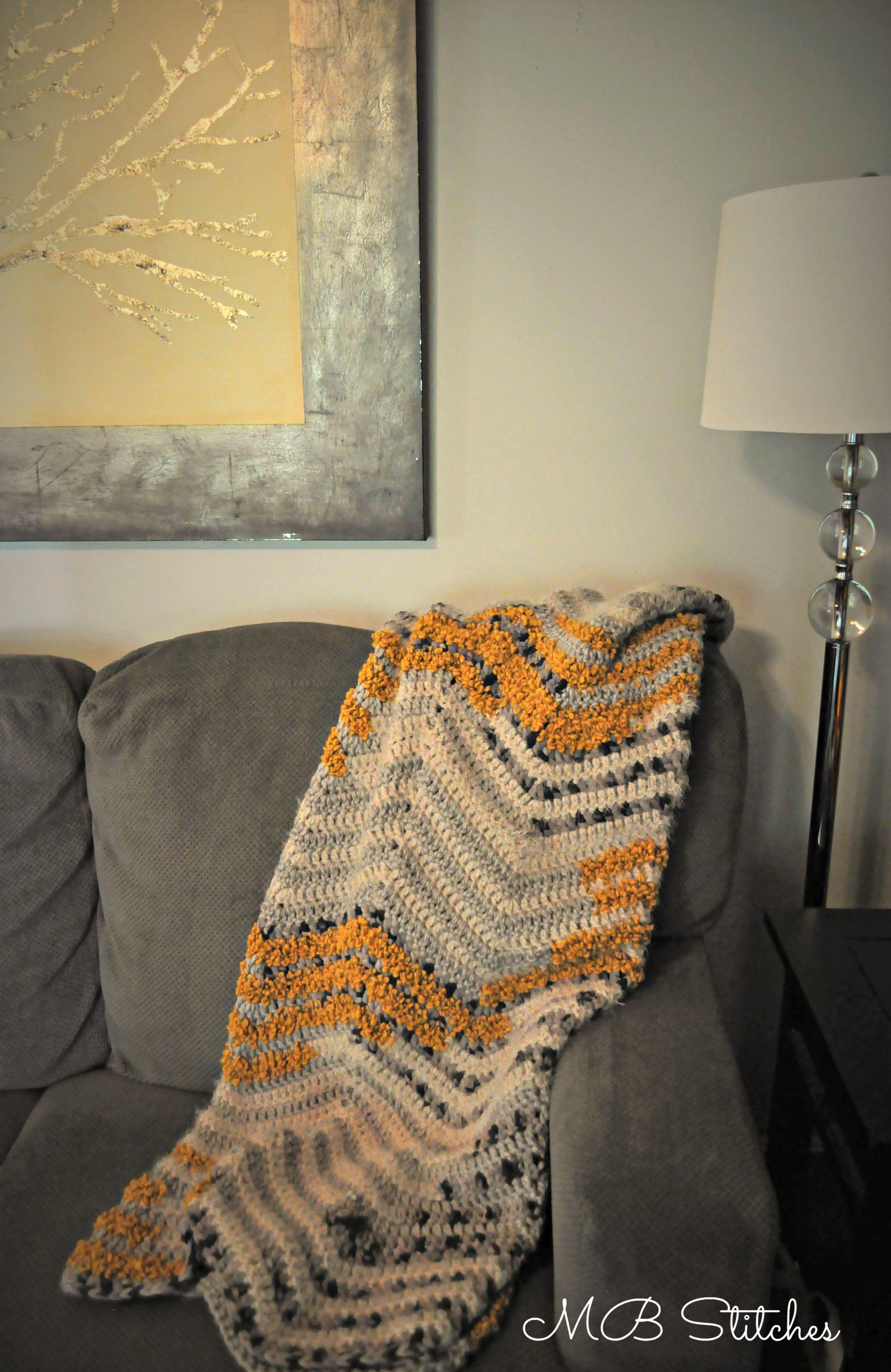 Chevron Blanket in Bernat Mix Home Yarn Crochet Items