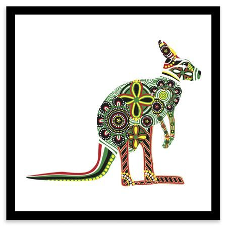 Animaux en motifs - Kangaroo, reproduction encadrée, 20 x ...