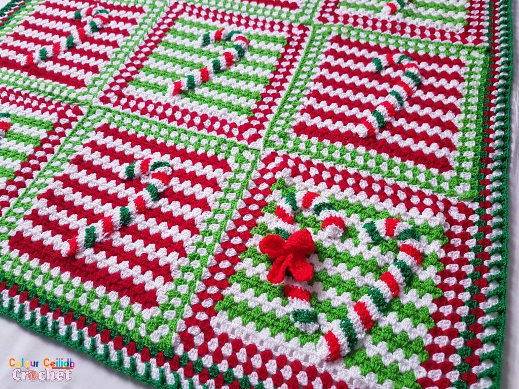 Crochet Blanket Candy Cane Lane
