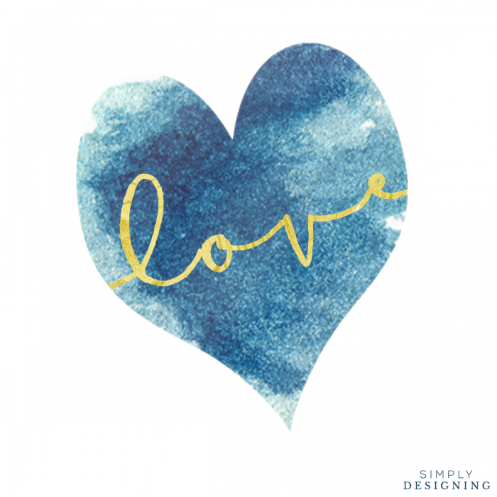 Free Gold Love Printable With Blue Watercolor Heart Watercolor Heart Blue Valentine Heart Wallpaper