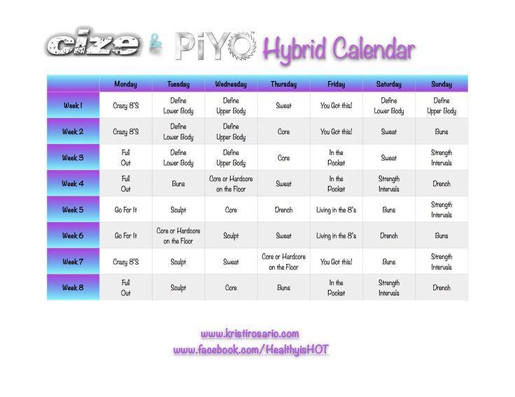CIZE  PiYo Hybrid Calendar - Fitness Joy - Tap the pin if you love