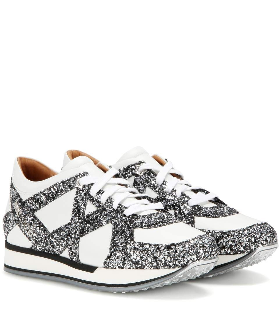 JIMMY CHOO London Glitter-Embellished Leather Sneakers. #jimmychoo #shoes #previous weeks