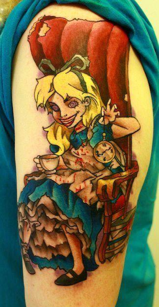 Zombie Alice In Wonderland Tattoo Wonderland Tattoo Tattoos Disney Tattoos