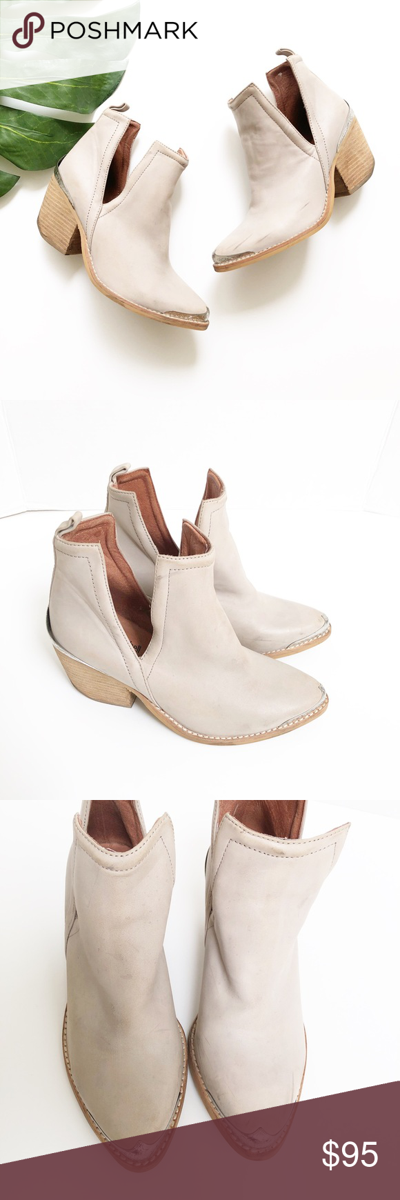 8768bff014a Jeffrey Campbell Leather Western Cutout Boots Jeffrey Campbell Leather  Western Cutout ankle Boots in taupe