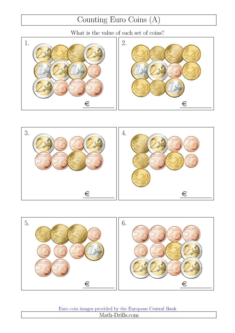 The Counting Euro Coins A Math Worksheet From The Money Worksheets Page At Math Drills Com Money Worksheets Counting Money Worksheets Money Math [ 1273 x 900 Pixel ]